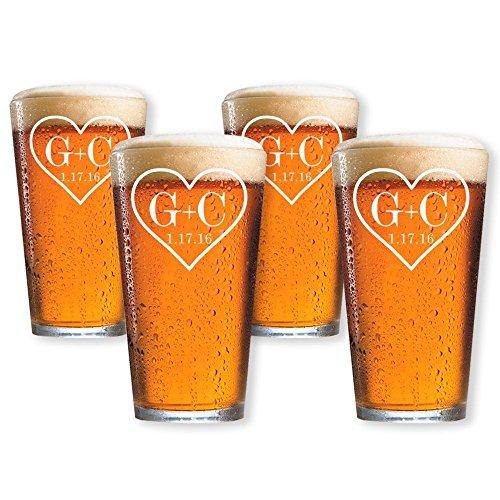 Customized Pint Beer Glasses Set of 4 (Pint 16oz.) (Set Pint Barware)