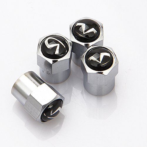 (SXhhqhsm Zinc alloy Chrome Infiniti Logo Tire Stem Valve Caps For Apply to Infiniti( A Set of 4 plus an)