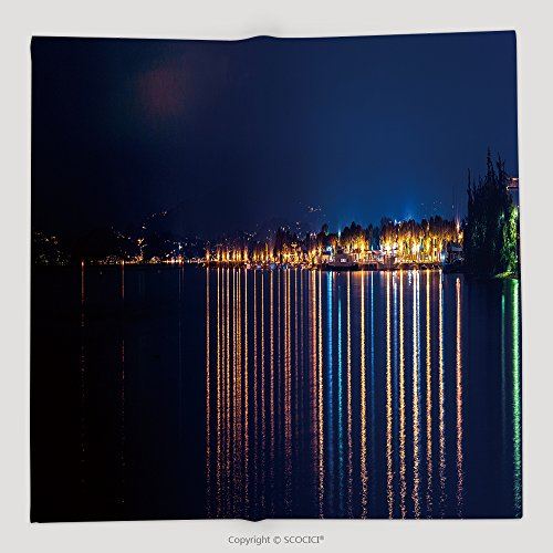 Custom Night Panorama On The Garda Lake Peschiera 520706338 Soft Fleece Throw (Garda Halloween)