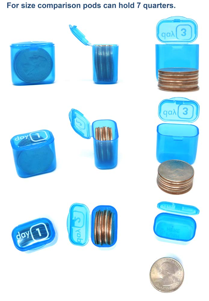 AM/PM 31 Day Monthly Pill Organizer Holder with Large Removable Medication Pods and Bonus Medical Alert Card - Blue for Morning and Grey for Evening - Daily Pill Pods are Portable and Great for Travel by Pill Thing (Image #5)