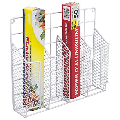 Home Basics SS30367-6 Organizer Stainless Steel Rust Resistant, Perfect for Food Storage, Silver Foil, Wax Paper, Sandwich Bags, Plastic Wrap-Mounts