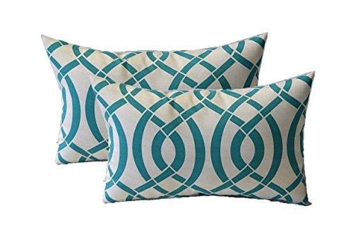 (Set of 2 - Indoor / Outdoor Rectangle / Lumbar Decorative Throw / Toss Pillows ~ Jade / Turquoise, Ivory Intertwined Geometric)