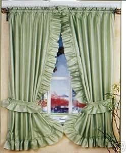 Amazon Com Sage Green Ruffled Priscilla Fabric Window