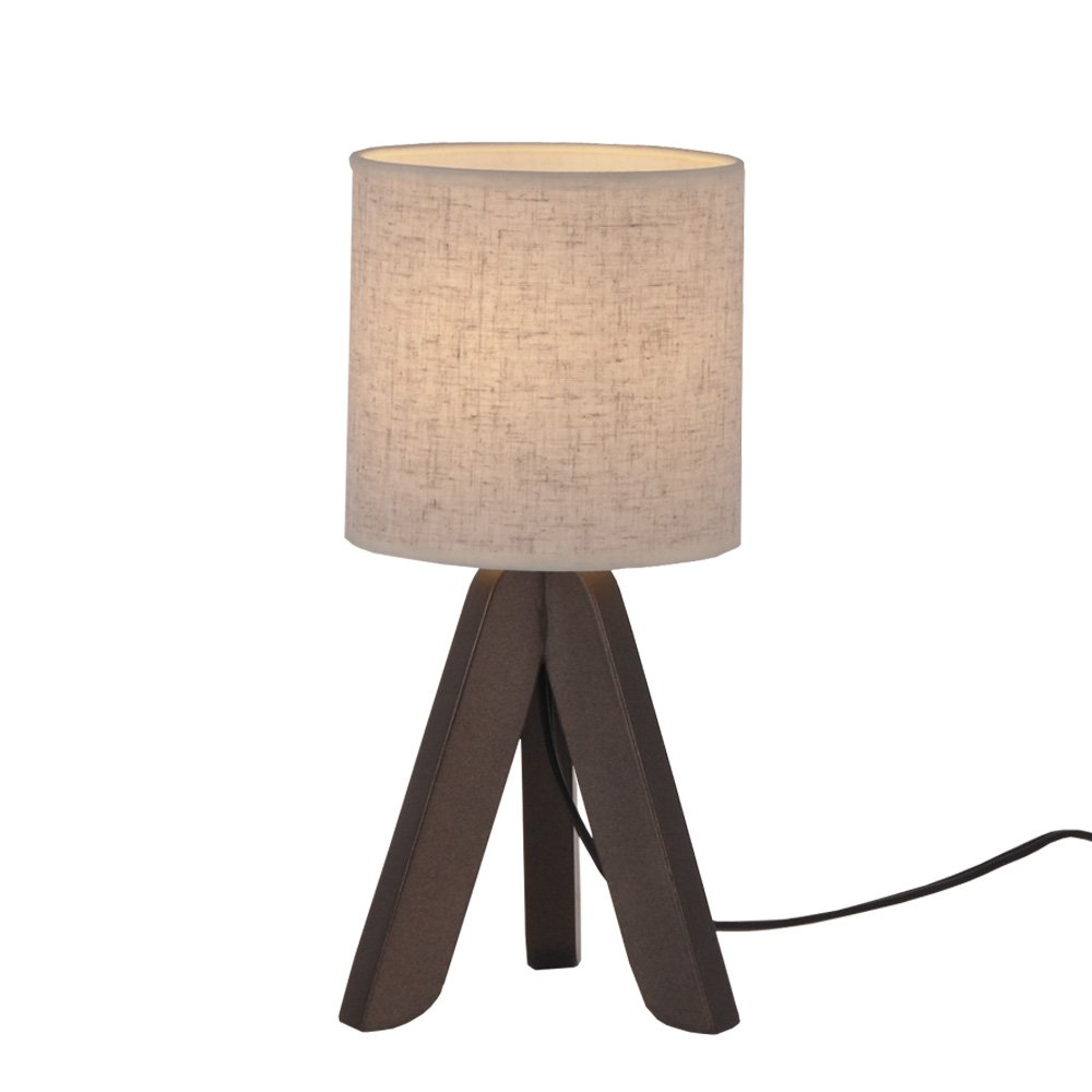 Surpars House Mini Wood Bedside Table lamp with Fabric Shade for Bedroom,Living Room,Baby Room or Office