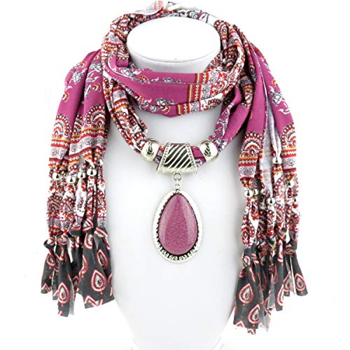 GOGNGTR Women's Scarf Waterdrop Pendant Necklace Jewelry Printing Polyester Shawl Scarves(sc0016) (Pink) ()