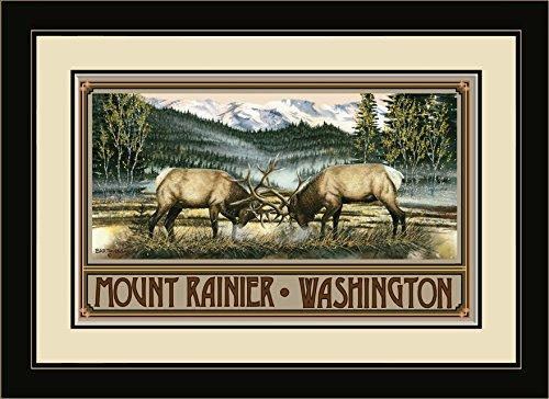 Northwest Art Mall BA-4730 MFGDM CT Mount Rainier Washington Elk Framed Wall Art by Artist Dave Bartholet, 13 x - Ct Mall