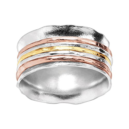Silpada 'Gold Rush' Spinner Ring in Sterling Silver & 18K Yellow & Rose Gold Plate by Silpada