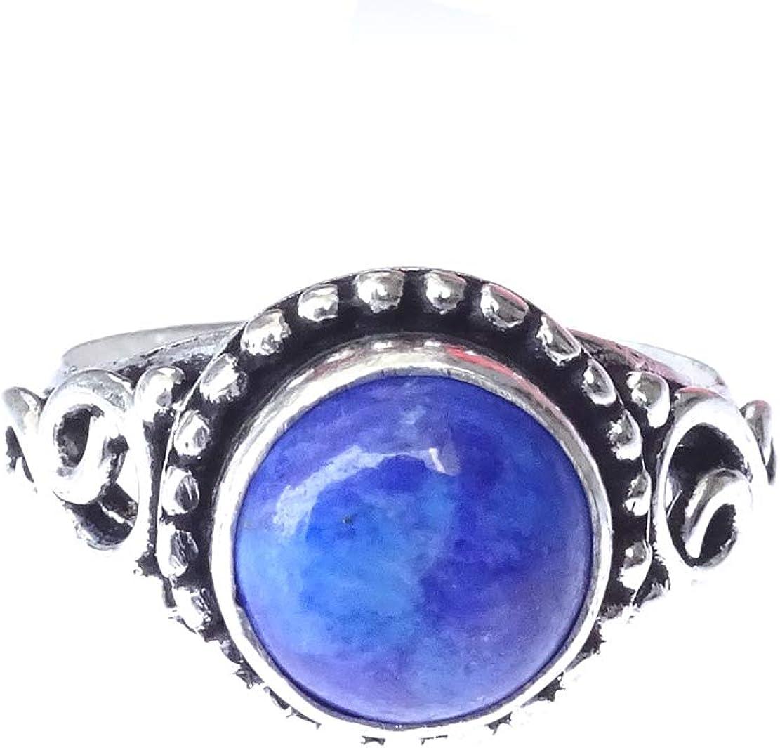 India Jewel Store Hecho a Mano Azul Lapislázuli Piedras Preciosas Estilo Moderno único Filigrana Fina Diseñador de Moda Anillo de cóctel Plateado para Mujeres y Hombres Anillo de Dedo Joyería