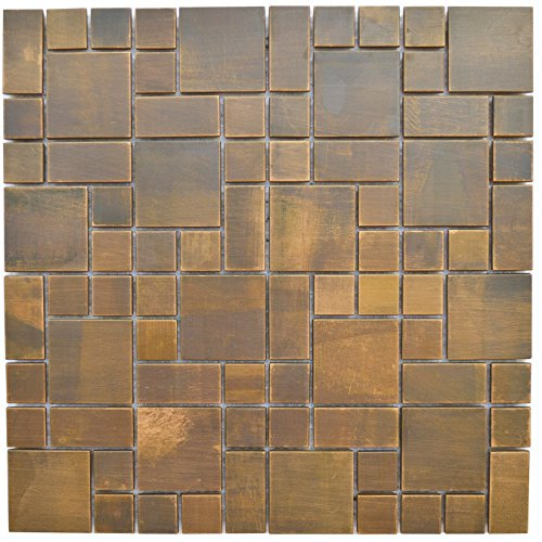 Copper Bath and Kitchen Backsplash, Fireplace Surround and Wall Decor Tile - Eden Mosaic Tile Cobble Pattern Antique Copper Mosaic Tile