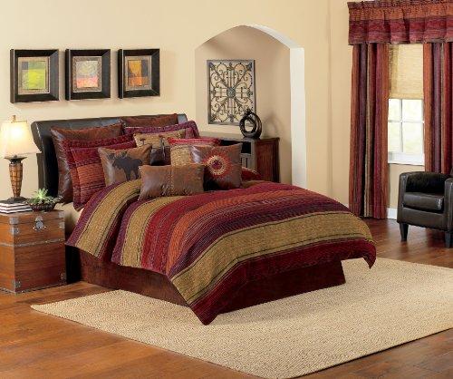Croscill Plateau Comforter Set, King, Multi (Leather Bedding Set)