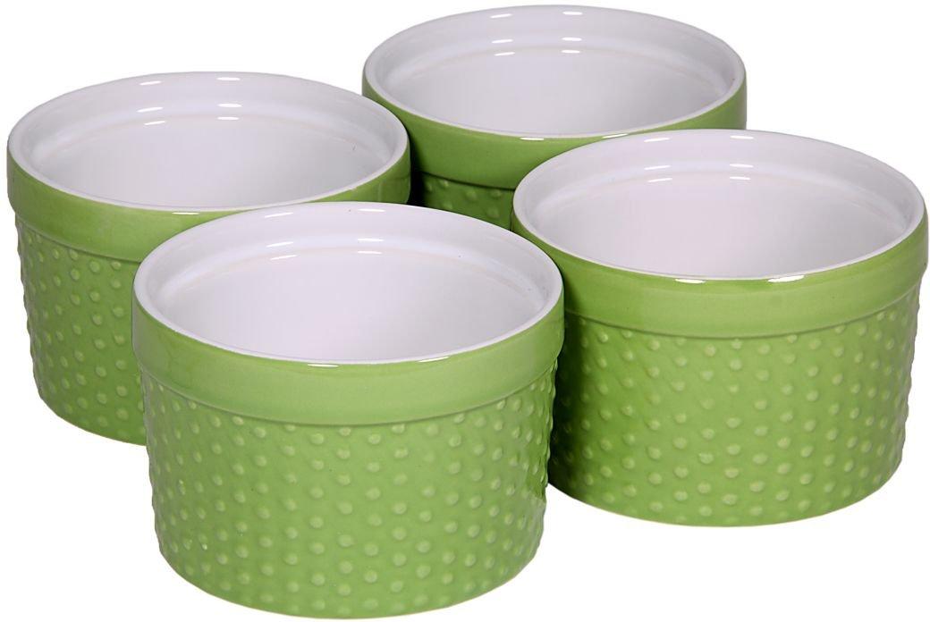 Round Porcelain Ramekin Dessert Dish, Set of 4 - Oven Safe Souffle Baking Dish, 8-oz (Lime Green)