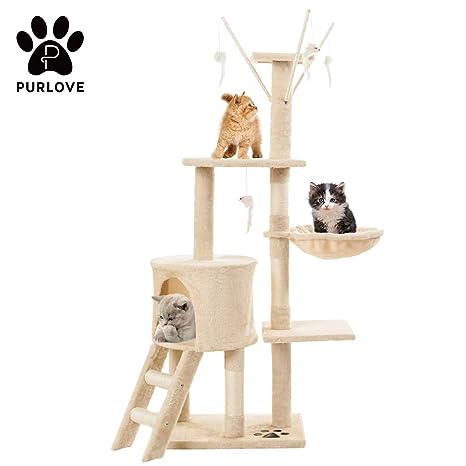 Centro de actividades para gatos, grande, 3 plataformas, poste rascador, color gris