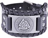 VASSAGO Vintage Wicca Odin's Symbol of Norse Viking Warriors Valknut Viking Runes Charm Cuff New-style Belt Buckle Bracelet (Black Leather, Antique Silver)