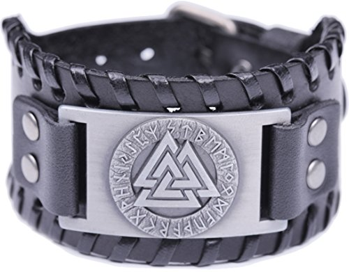 Buckle Belt Warrior (VASSAGO Vintage Wicca Odin's Symbol of Norse Viking Warriors Valknut Viking Runes Charm Cuff New-style Belt Buckle Bracelet (Black Leather, Antique Silver))