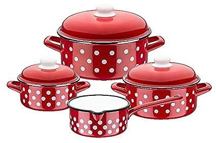 Gran juego de cacerolas de cerámica juego de ollas lila lunares ...