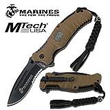 USMC ELITE MARINE CORPS ''REAPER'' TACTICAL FOLDING KNIFE - TAN / BLACK BLADE