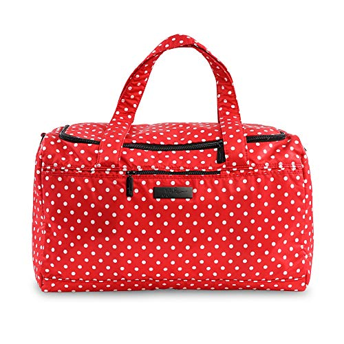 JuJuBe Super Star Oversized Weekender Travel Duffle Bag, Onyx Collection - Black Ruby - Red/White Polka ()