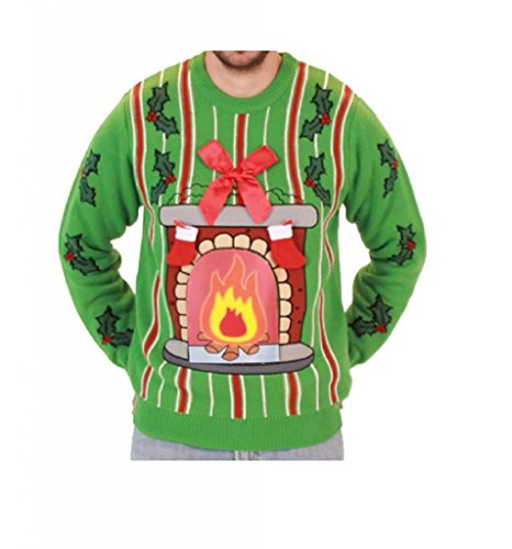 Fireplace LED Light Up Ugly Christmas Sweater (Adult X-Large)]()