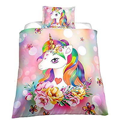 Suncloris,Little Cute Princess Unicorn Duvet Cover Set,Teens' Gift Bedding Set.Included: Duvet Cover, Pillowcase(no Comforter Inside) (Twin): Home & Kitchen