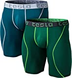 TSLA TM-MBU13-GNG_2X-Large Men's Relaxed Stretch 9 inches No-Fly Cool Dry Brief Mesh Underwear Trunk (2-Pack)