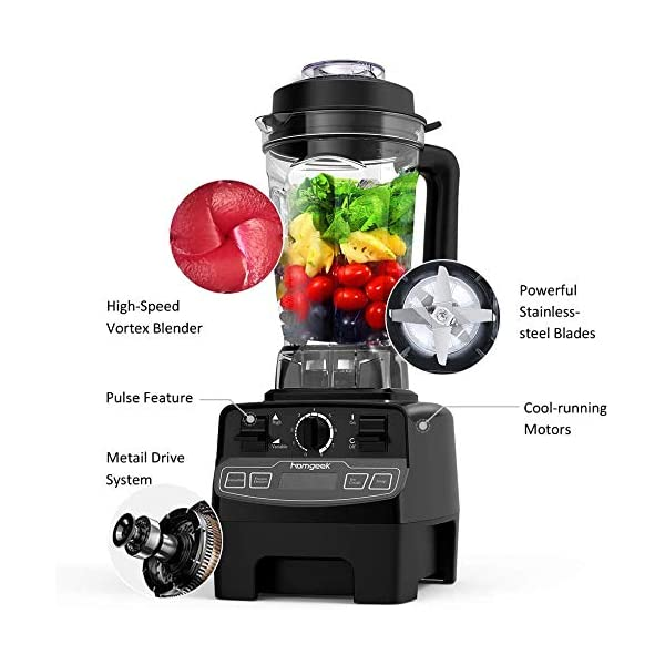 Blender 1450w, Homgeek Professional Countertop Blender Smoothie Maker with 68oz BPA Free Tritan Container, High Speed… 4