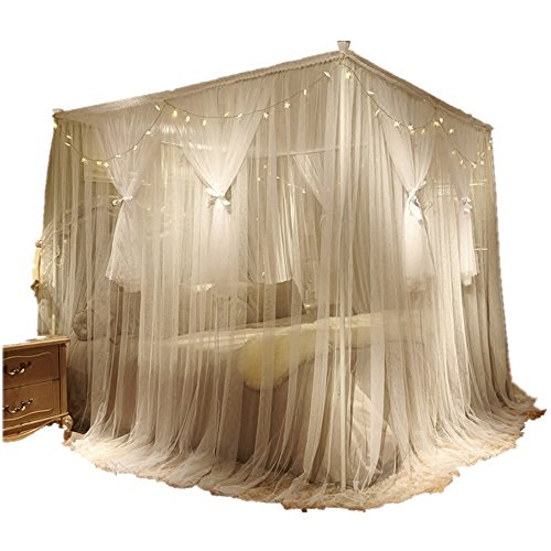 (Nattey 4 Corner Poster Princess Bed Curtain Canopy Mosquito Netting with Led Light (Twin, White))