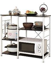 soges Küchenregal Standregal Mikrowellenhalter Bäcker Regal Haushaltsregal mit 3 Ablage, multifunktionale Küchenregallagerung Beistellwagen