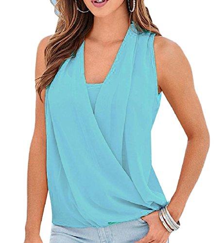 恒久的ゲスト偽Tootess 女性のvネックソリッドビーチファッションシフォンベストタンクトップシャツ