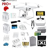 DJI Phantom 4 PRO Plus (Pro+)Quadcopter Drone with 1-inch 20MP 4K Camera KIT with Built in Monitor + 2 DJI Batteries + 64gb Micro SD Card + Reader + Guards + Range Extender+ Charging Hub + HardCase