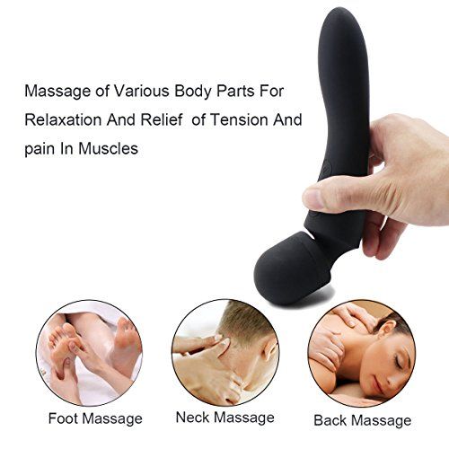 Home USB Vibrator Charging Wand Electric Powerful but Quiet Handheld Massager Wireless Easy Travel Rechargeable Waterproof with 10 Modes Travel Package Availble (My-Black) by MEIPER (Image #5)
