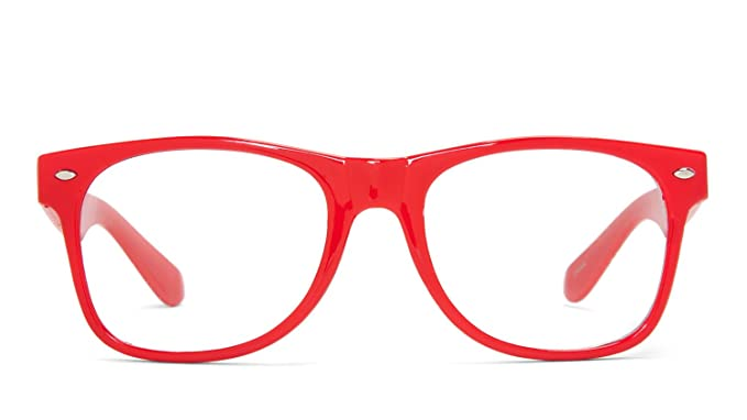 161afcb159 Amazon.com  Clear Lens Wayfarer NERD Sunglasses Color Frame - Red ...