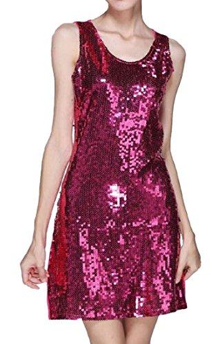 Femmes Confortables Taille Partie Paillette Robe Scintillante Cocktail Clubwear Rose Rouge