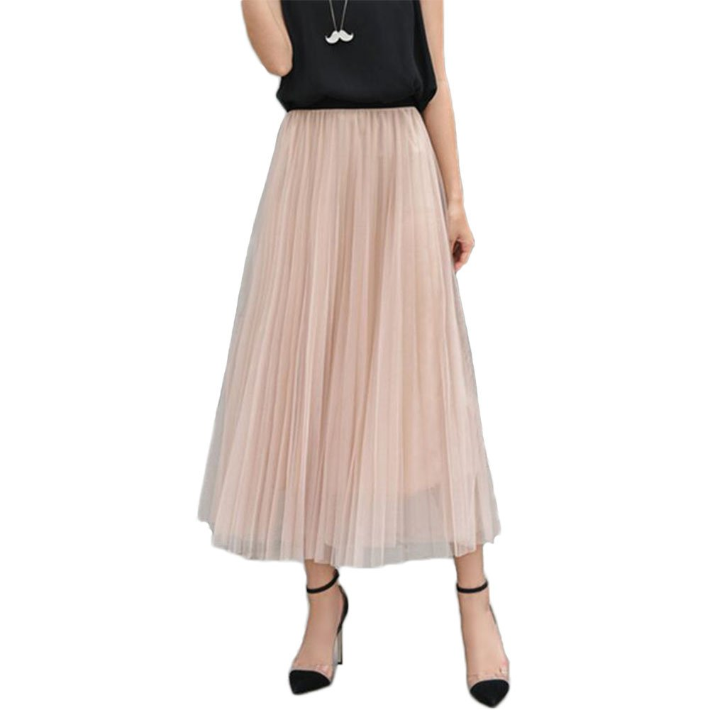 L&Z Womens Long Pleated Tulle Skirt A Line Elastic Waist Formal Wedding Party Midi Calf Skirts