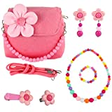 Image of CMK TRENDY KIDS Kids Plush Flower Handbag Set with Hair Clip + Necklace + Bracelet + Earrings + Ring Small Purse for Little Girls and Toddlers (82000_Pink)