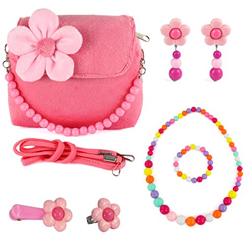 CMK TRENDY KIDS Kids Plush Flower Handbag Set with Hair Clip + Necklace + Bracelet + Earrings + Ring Small Purse for Little Girls and Toddlers (82000_Pink) (Play Purse)