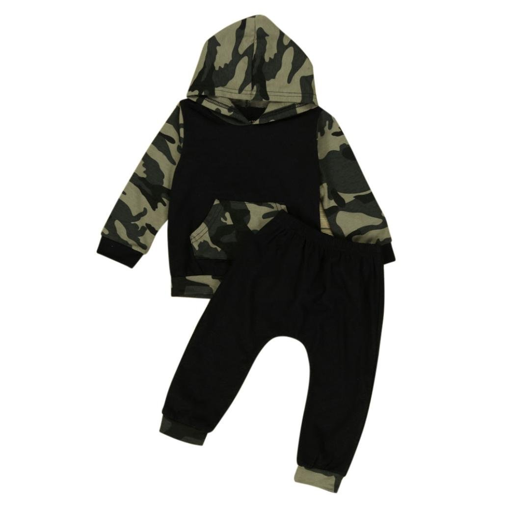 Fulltime(TM) 0-24 Months Camouflage Baby Boys Toddler Hooded Tops + Long Pants Clothes Sets F-2982