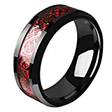 Tanyoyo Mens Red Carbon Fiber Black Celtic Dragon Ring