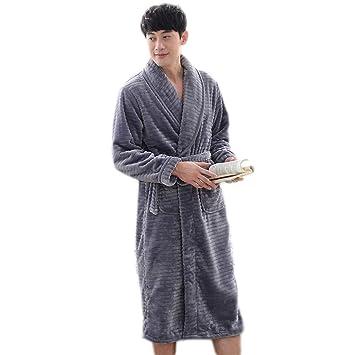 Pijama LINGZHIGAN Traje de Invierno de Franela Robe Grueso de los Hombres Albornoz de Lana de