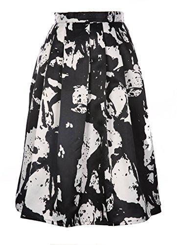 Pleated Pocket Pencil Skirt (JOLLYCHIC Women's High Waist Floral Pleated Swing Midi Full Skirt With Side Pocket (8, Black&White))