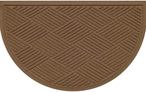 AquaShield Diamonds Half-Oval Mat, 24 by 39-Inch, Dark Brown
