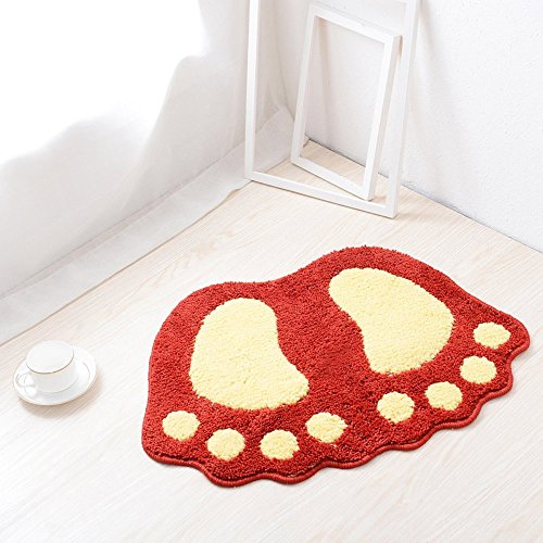 "Jian Ya Na Non Slip Bath Toilet Mat Cute Big Feet Bathroom Shower Rugs Shaggy Carpet Absorbent Doormat Floor Mat Living Room Sofa Cushion Foot Pad Rug (16""x24""(40x60CM), Red)"