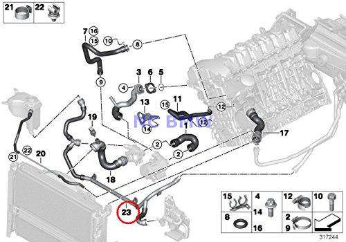 (BMW Genuine Cooling Coolant Hose Heater Return - Thermostat Line 128i 128i 323i 325i 328i 330i 323i 328i 328i 328i 328i 328i 328i 328i)