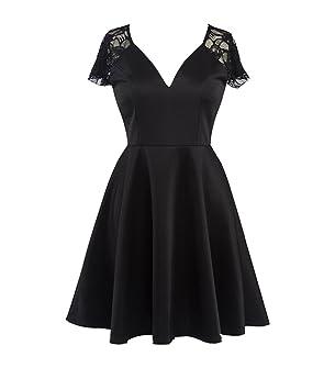 Vestido De Fiesta Para Mujer Vestido Años 50 Elegantes V Cuello Vestidos De Noche Encaje Vestido