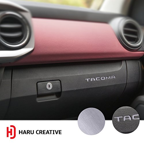 Haru Creative - Glove Box Dashboard Letter Insert Decal Compatible with and Fits Toyota Tacoma 2016 2017 2018 - Metallic Brushed Aluminum Silver