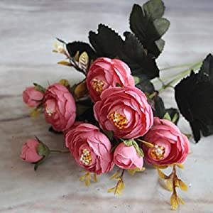 Floral Arrangements Artificial Spring Flowers -New Vivid 6 Branches Autumn Artificial Fake Camellia Flower Home Room Bridal Hydrangea Decor Real Touch - Spring Flowers Artificial (Pink) 106