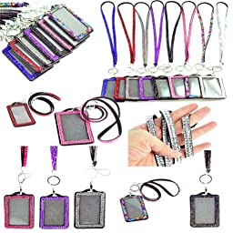 New Shimmering Bling Rhinestone Id Badge Lanyard with Detachable Bling Rhinestone Lined Id Holder, Gifts, Parties, Special Events, Work, or Play (9 Color)
