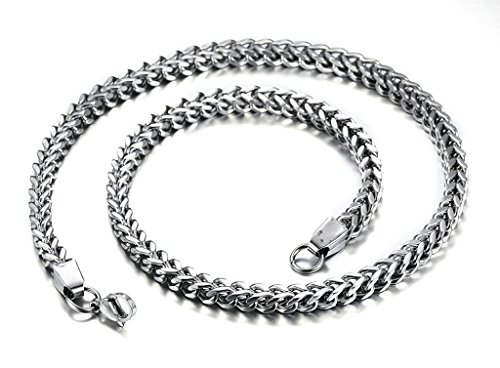 Epinki Mens Necklace, Stainless Steel Double Curb Link Chain 6MM 22 Inches Silver Necklace