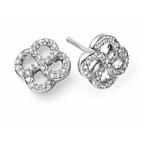 9 ct or blanc et diamant Boucles d'oreilles Tourbillon Bio