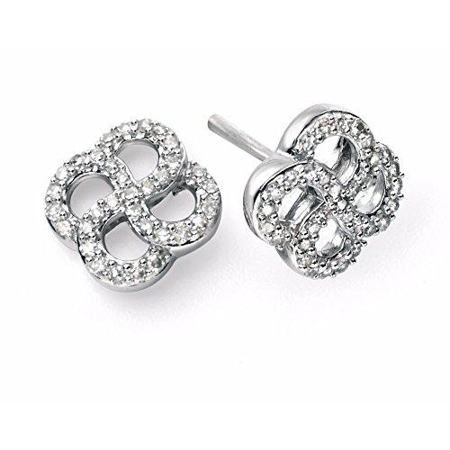 9ct or blanc et diamant Boucles d'oreilles Tourbillon Bio