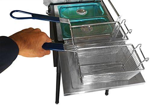 Encimera Freidora Acero Inoxidable 20L Tanque Doble Comercial De La Freidora El/éctrica HHCP Freidora De Gas De Doble Cilindro con 2 Cestas para Fre/ír